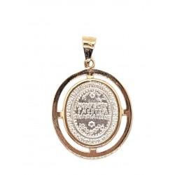 Medalla - Virgen de Guadalupe mini con doble bisel de oro-14k